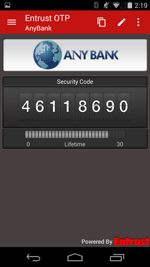 Entrust IdentityGuard Mobile- screenshot