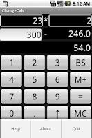 Screenshot of Change Calculator