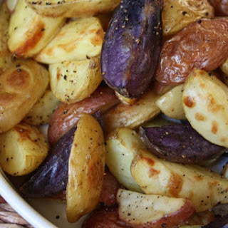 Crisp Garlic Oven Fries with Purple Potatoes