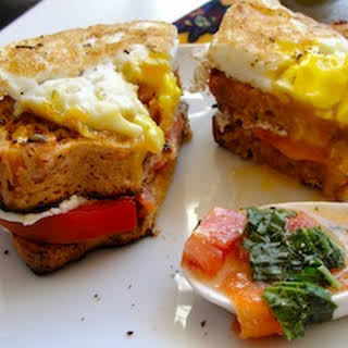 Tomato, Carrot, and Beet Soup with Pulp Bread Croque Madame.