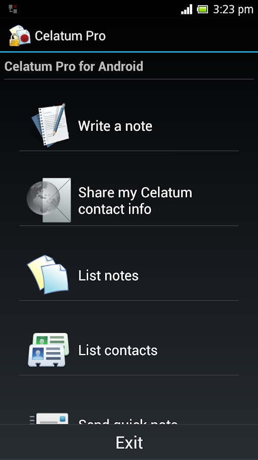 Celatum Pro Secure Chat, Notes- screenshot
