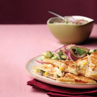 Shrimp-and-Corn Quesadillas with Avocado Salad