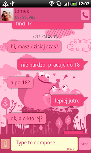 GO SMS Pro Pink Frogs Theme
