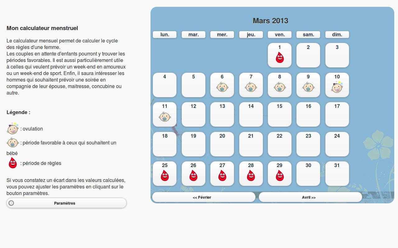 mon calculateur menstruel applications android sur google play. Black Bedroom Furniture Sets. Home Design Ideas