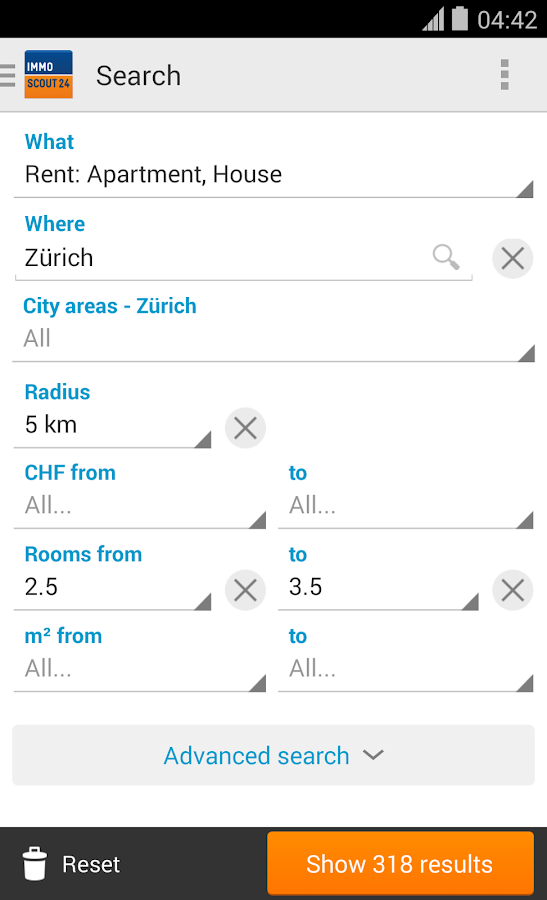 ImmoScout24 Switzerland - screenshot