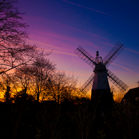 Impington  by Stephanie Veronique - Landscapes Sunsets & Sunrises ( village, sunset, landscape, windmill )