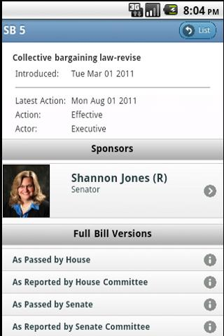 Ohio State Legislature- screenshot