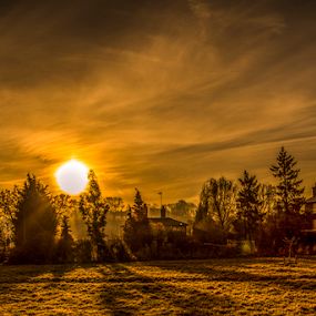 Stockers Lock by Peter Wyatt - Landscapes Sunsets & Sunrises ( rickmansworth, stockers, lock, sunrise, landscape, , golden hour, sunset )