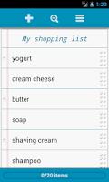 Screenshot of Grocery List