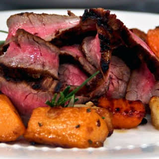 Soy and Lime Marinated Flank Steak with Root Vegetables.