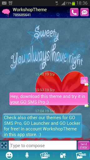 GO SMS Theme Red Heart Buy