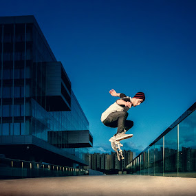 Jump by Antonio Rossetti - Sports & Fitness Skateboarding ( reflection, sky, jumping, skateboard )