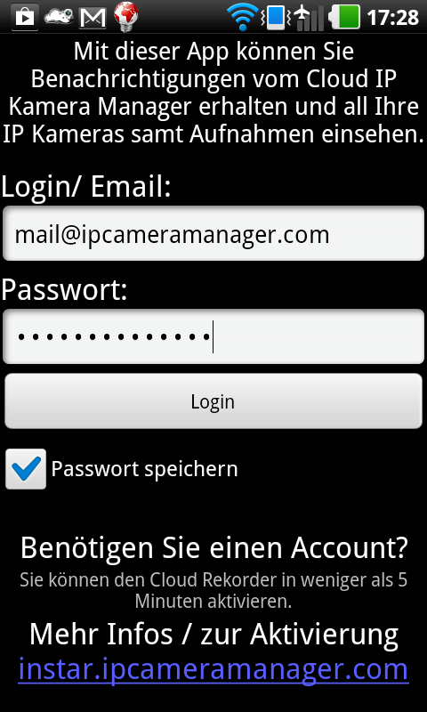 CloudCorder IP Kamera Rekorder – Screenshot