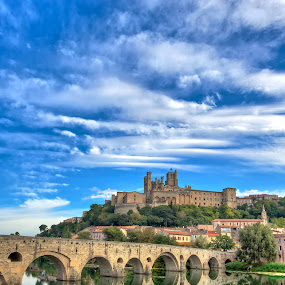 The Old Bridge at Beziers by Paul Atkinson - Buildings & Architecture Bridges & Suspended Structures ( old, beziers, orb, france, cathedral, bridge, medieval, river,  )