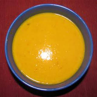 Pumpkin, Sweet Potato, Leek and Coconut Milk Soup.
