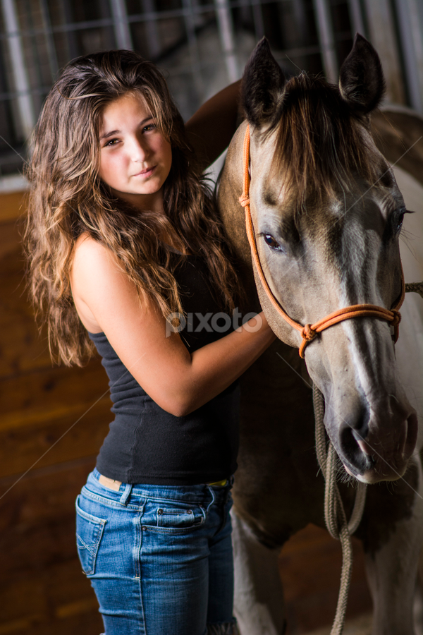 Real Idaho Girl by Joe Bowers - People Portraits of Women ( girl, barn, horse, brunette, animal )