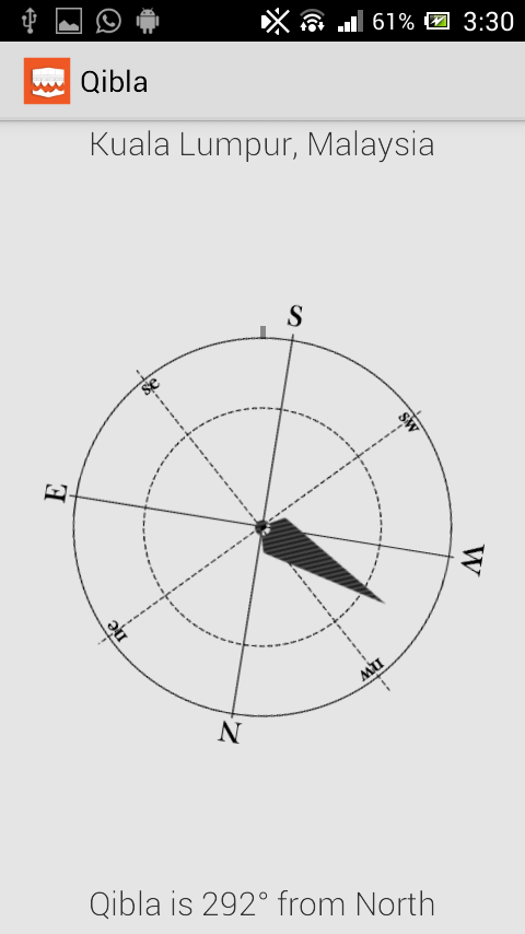 Qibla Direction Using GPS - screenshot