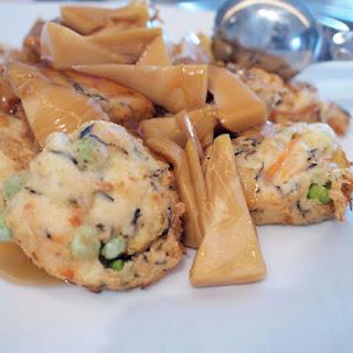Tofu dumpling (Hi ryo zu) with Bamboo root
