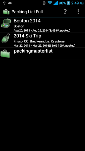 Packing List - Full