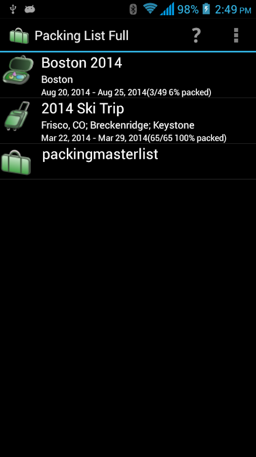 Packing List - Full - screenshot