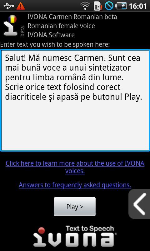 IVONA Carmen Romanian beta- screenshot