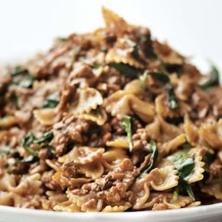 Farfalle Abruzzese with Veal, Porcini, and Spinach.
