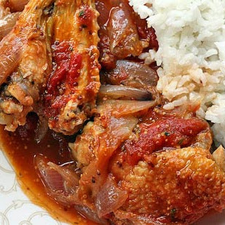 Chicken Stew with Onions, Tomatoes, and Dijon.