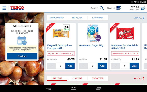 Tesco Groceries Tablet