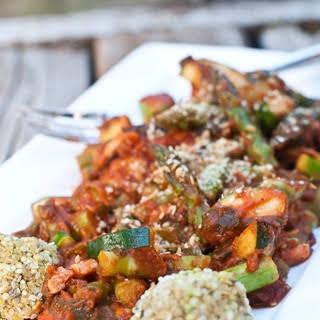 Sweet 'n Spicy Zucchini, Asparagus, and Potato Stir-fry.
