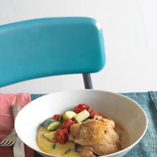 Braised Mediterranean Chicken with Polenta.