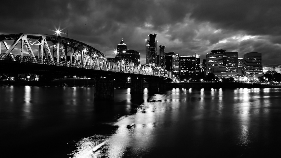Hawthorne Bridge by Kelly Klos - City,  Street & Park  Night ( 2013, night photography, black and white, june, home gallery, month, year, photography styles )