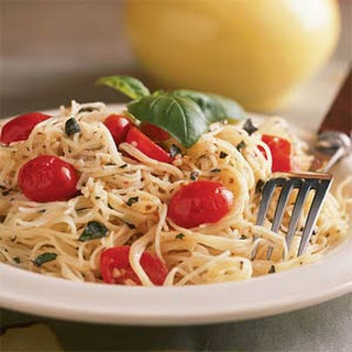 Pasta with Herbed Goat Cheese and Cherry Tomatoes.