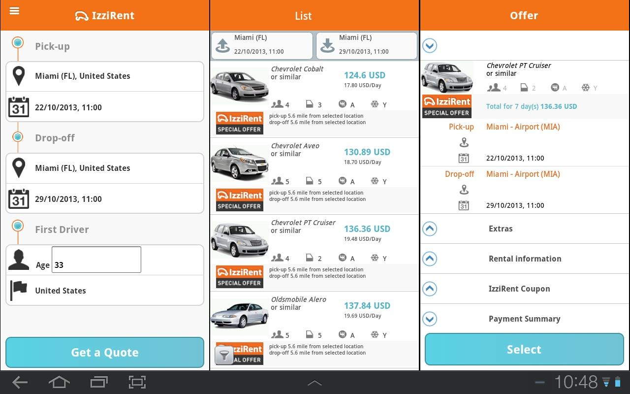 Enterprise Mobile App It's never been easier to rent a car from your mobile device. The Enterprise Rent-A-Car App is your own free personal assistant for all things car rental.