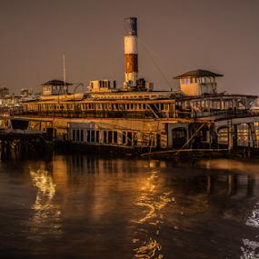 Binghamton Ferryboat by Werner Ennesser - Transportation Boats ( binghamton ferryboat, ferry boat, edgewater, restaurant, ny, nj, boat, hudson river,  )