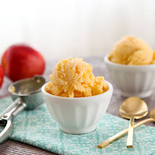 Candied Ginger Peach Sherbet.