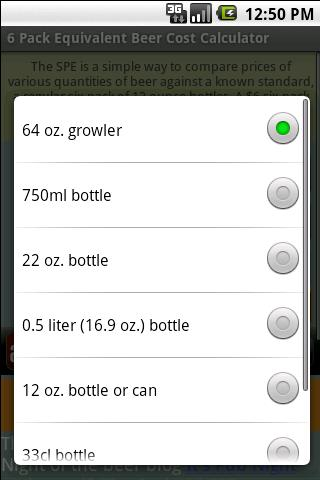 Beer Cost Calculator - screenshot