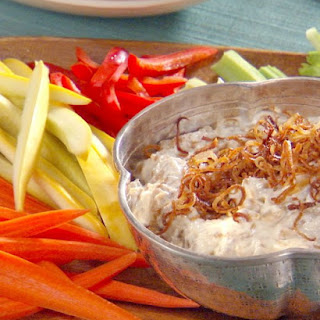 Caramelized Onion and Bacon Dip with Potato Chips and Crudite
