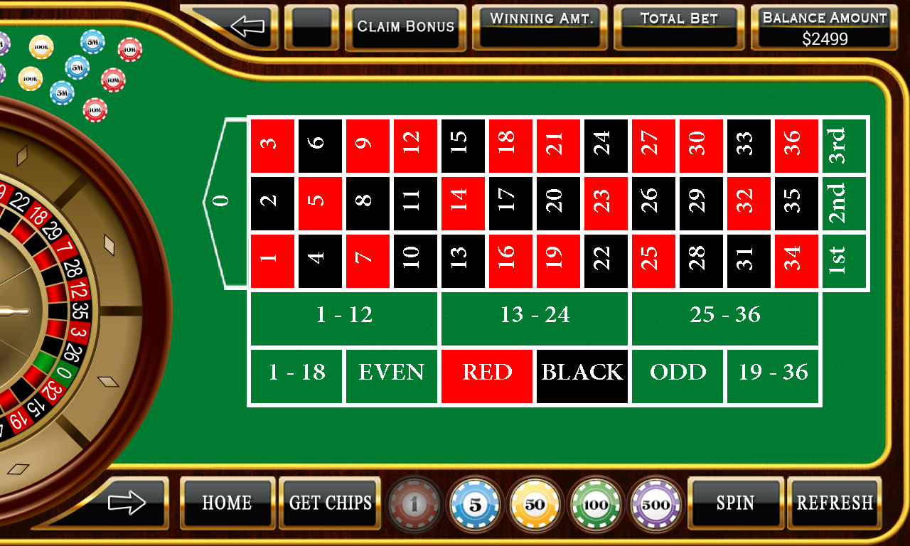 free roulette european table