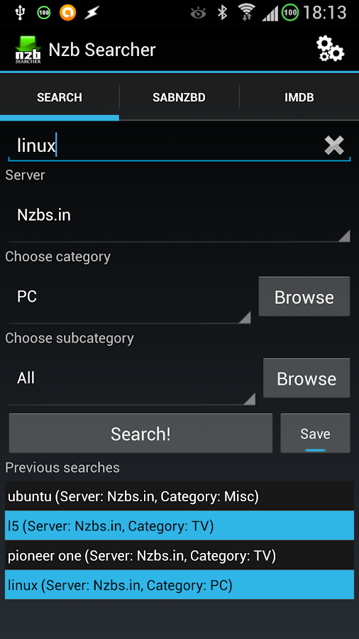 Nzb Searcher (Newznab)- screenshot