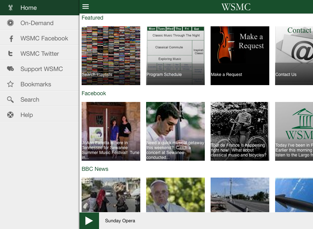 WSMC Public Radio App- screenshot