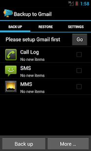 Backup message & call to Email- screenshot thumbnail