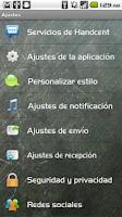 Screenshot of Handcent SMS Spanish Language