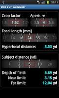 Screenshot of Vink DOF Calculator Lite