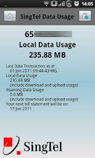 SingTel Data Usage - screenshot thumbnail