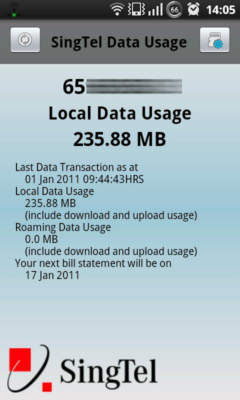 SingTel Data Usage - screenshot