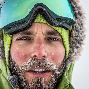 Beardsicle by Lance Emerson - People Portraits of Men ( selfie, ice, green, snow )