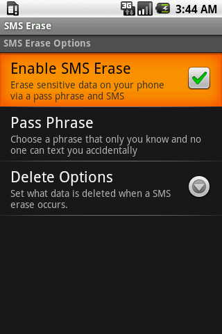 SMS Erase - screenshot