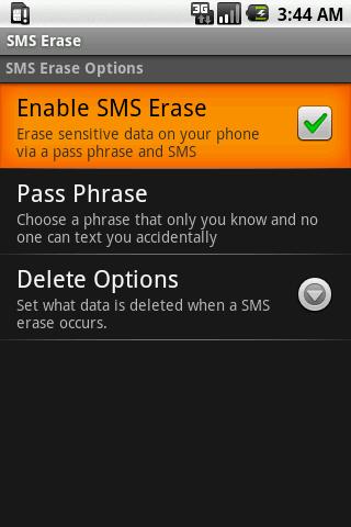 SMS Erase - screenshot
