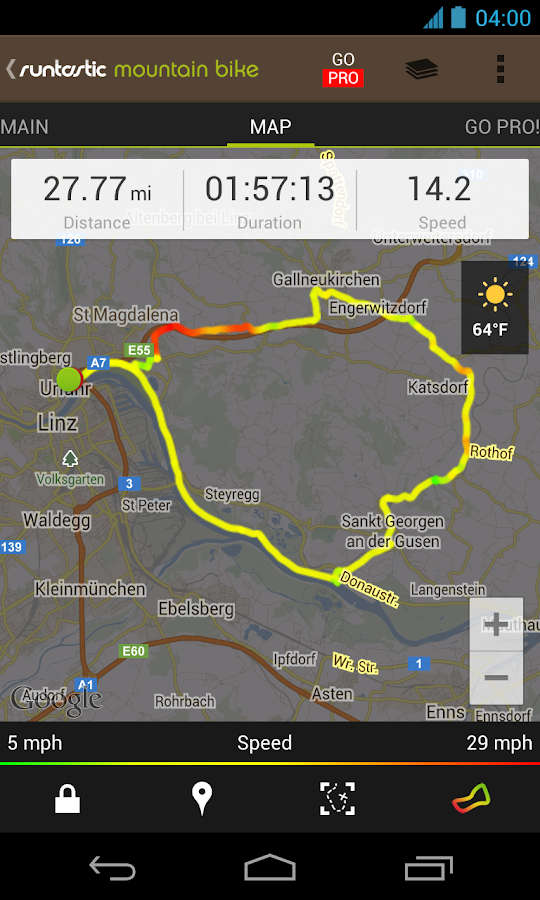 Runtastic Mountain Bike GPS - screenshot