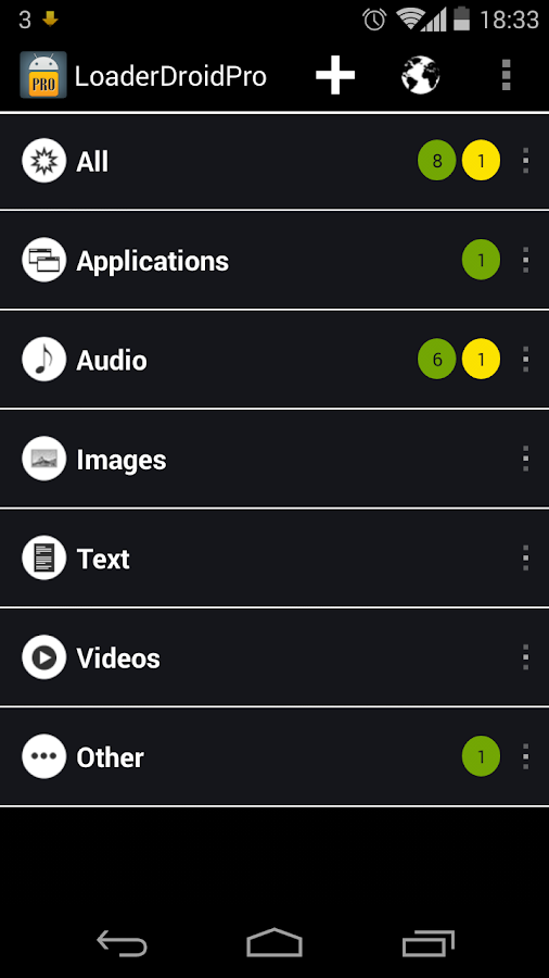 Loader Droid download manager- screenshot